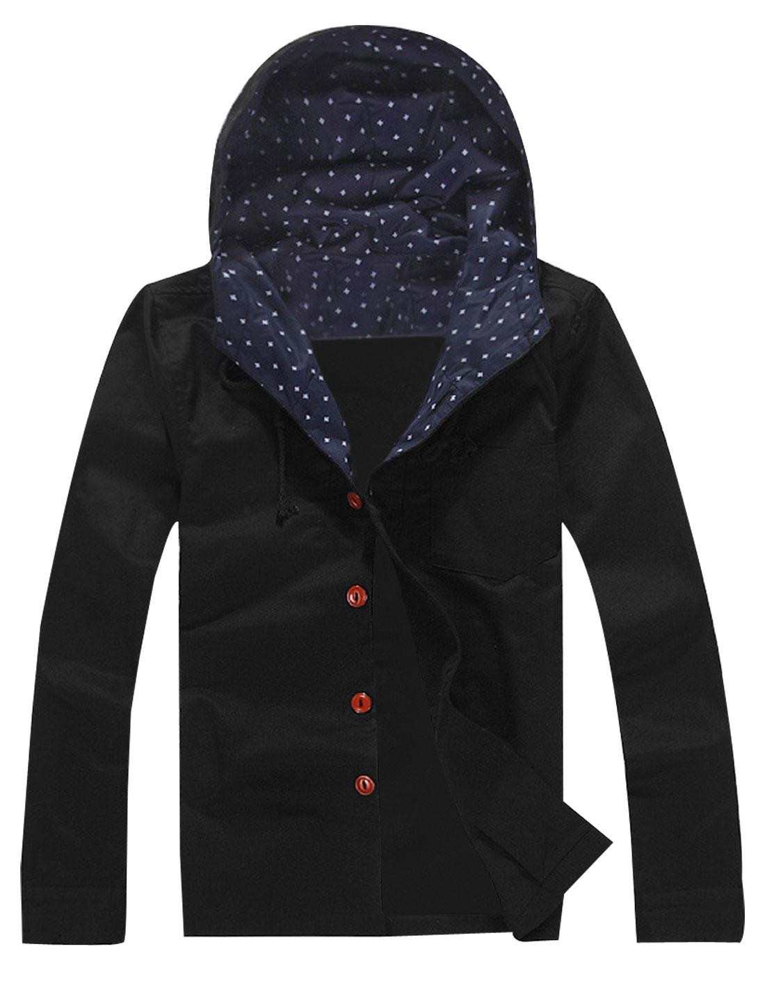 Men Black Fashion Button Closure Solid Color Simple Style Autumn Hoodie M