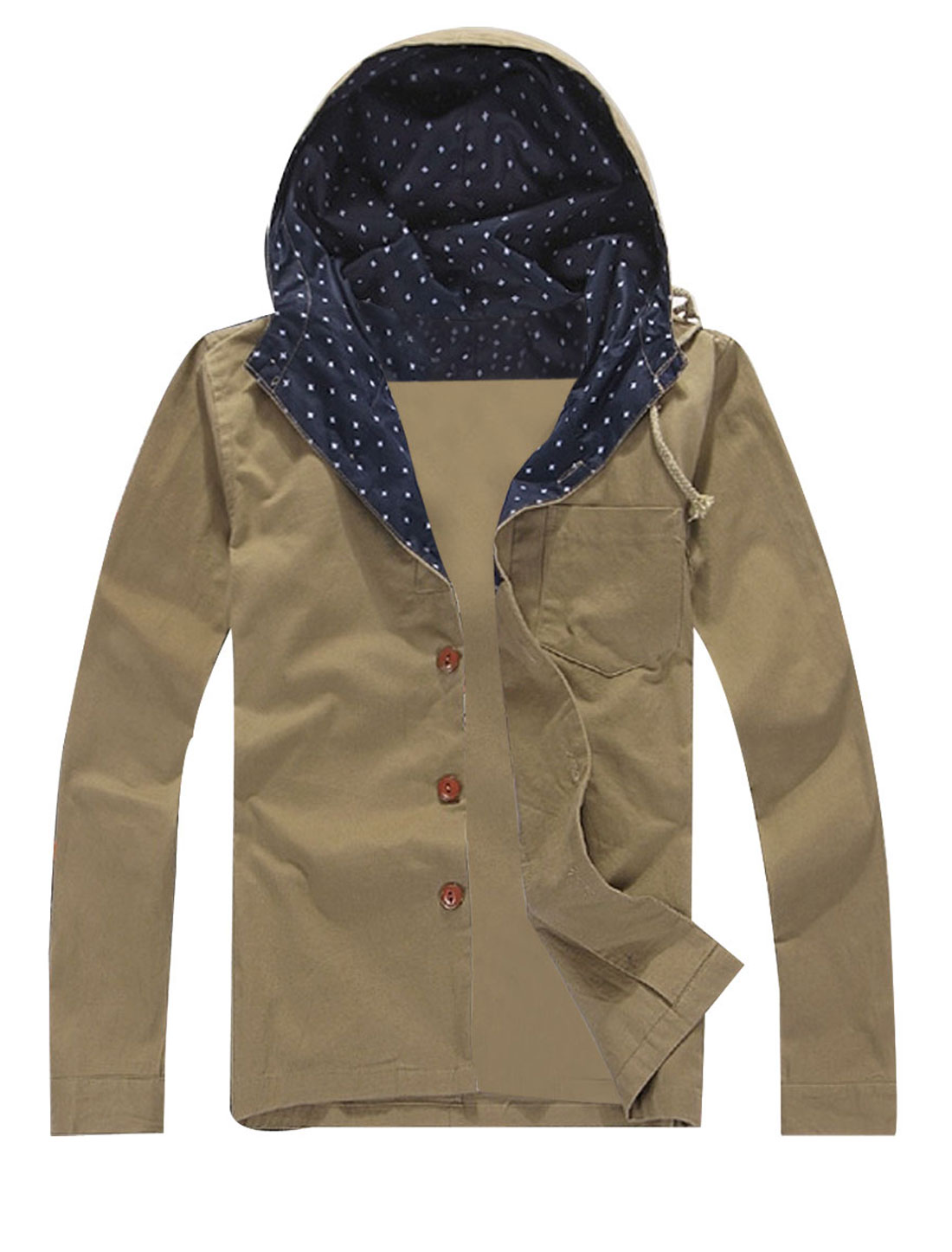 Mens Dark Khaki Color Stylish Button Down Wild Flowers Detail Autumn Hoodie M