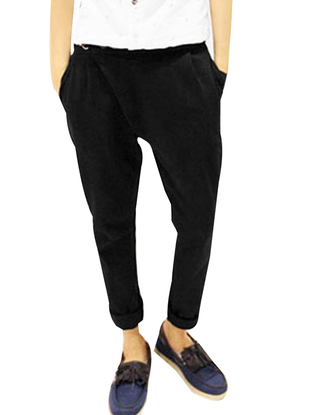 Men Black Elastic Waist Zip Fly Front Pockets Harem Trousers W30