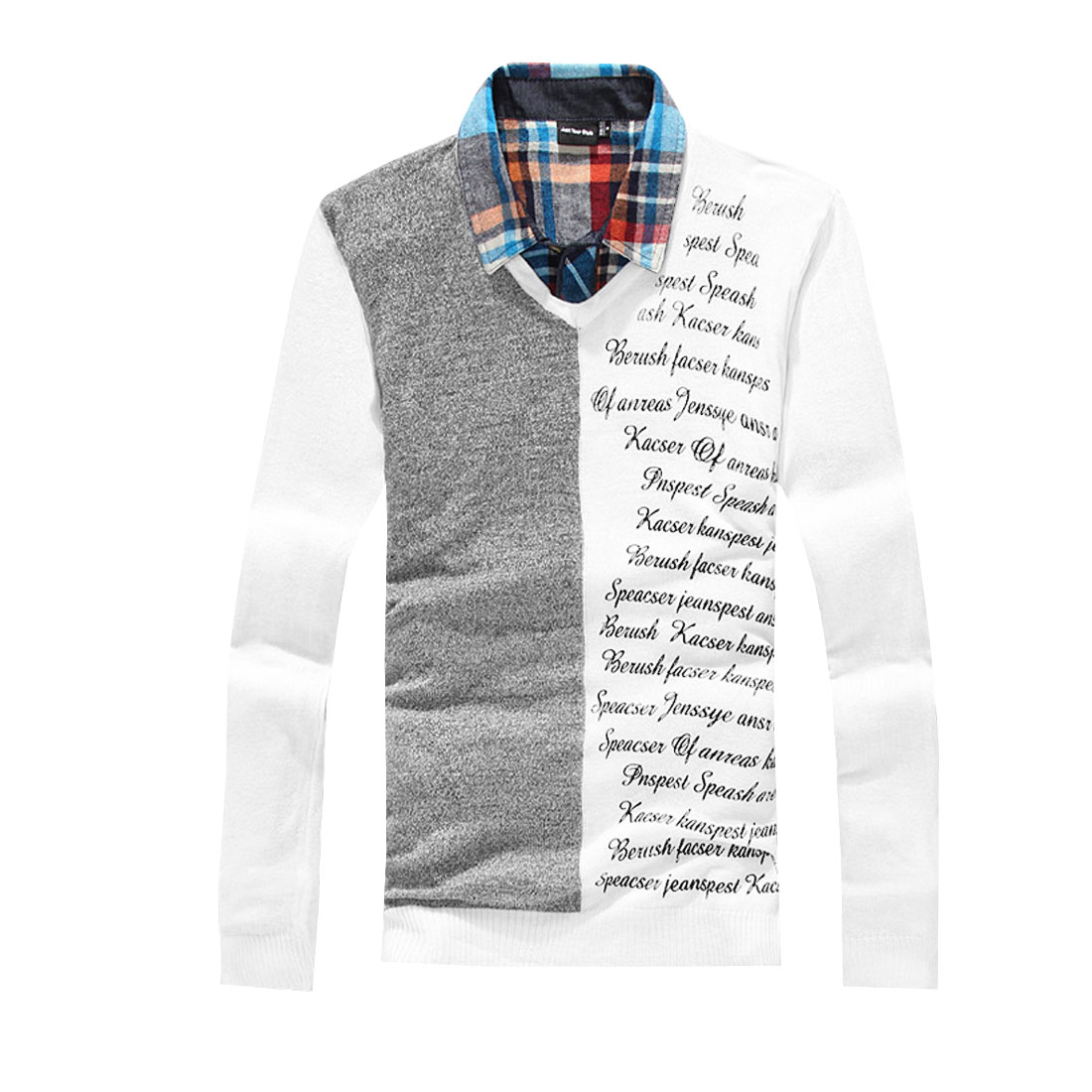Men White Pullover Letter Prints Design Knitted Elastic Shirt S