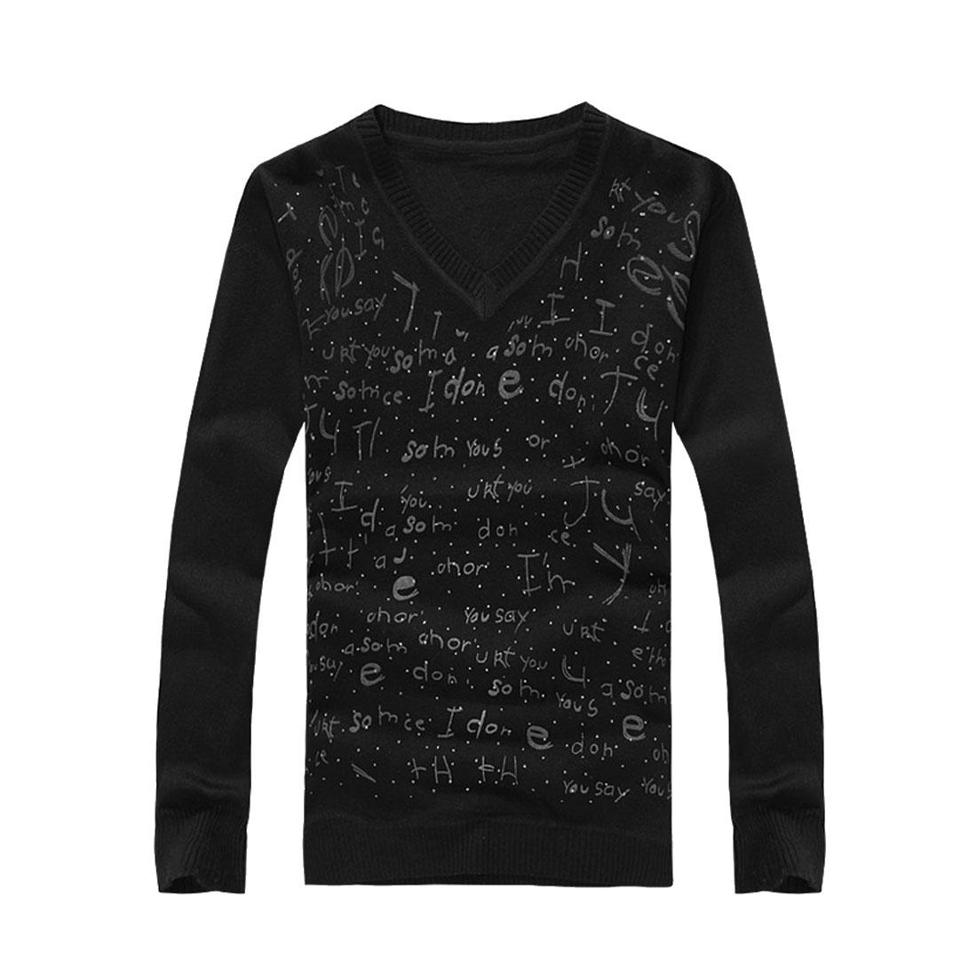 Mens Black Basic Pullover V Neck Letters Print Knitted Shirt S
