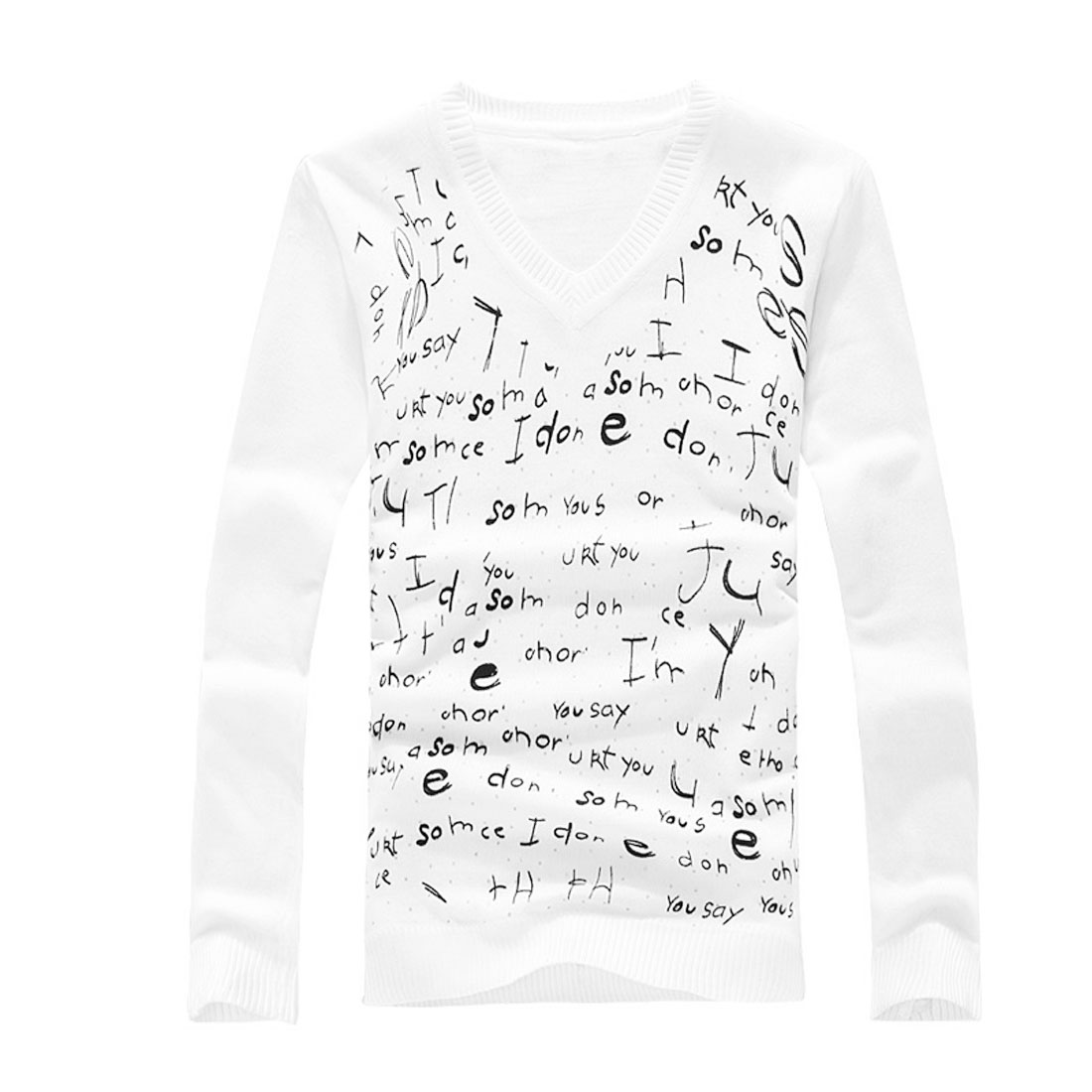 Men White V Neckline Glittery Design Front Knit Spring Shirt S