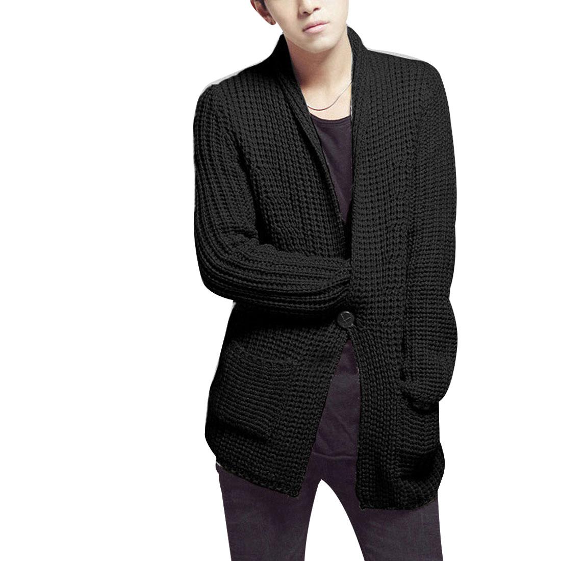 Mens Black Stylish Shawl Collar Long Sleeve Single Button Closure Sweater M
