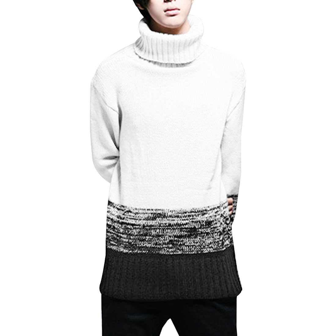 Mens White Black Long Sleeve Stretch Faded Ribbed Cuff Autumn Sweater M