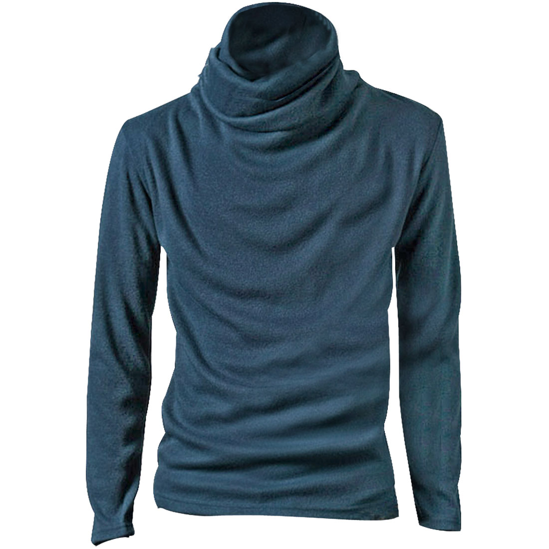 Men Steel Blue Stylish Turtle Neck Solid Color Simple Style Casual Top Shirt M