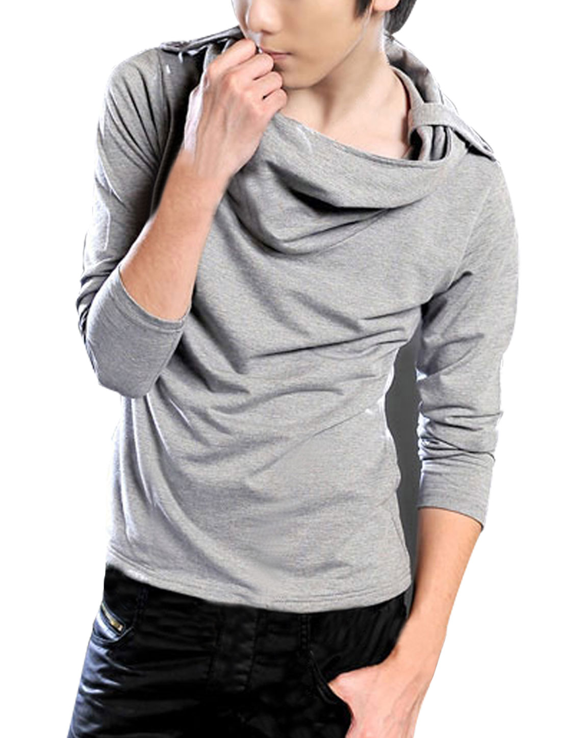 Men Light Gray Hoodie Style Epaulets Detail Casual Autumn Shirt S