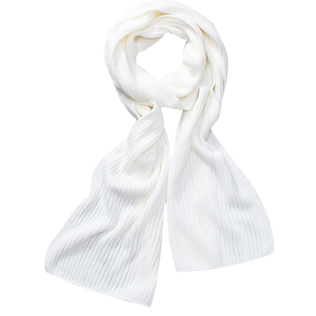 Men Off White Rectangular Shaped Textured Simple Style Warm Scarves Wrap