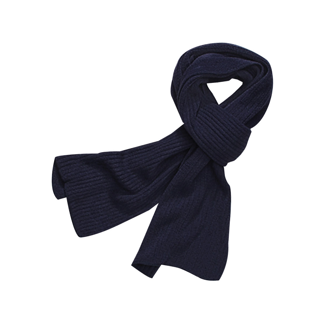 Men Dark Blue Rectangular Shaped Simple Style Winter Cozy Neckwear Wrap