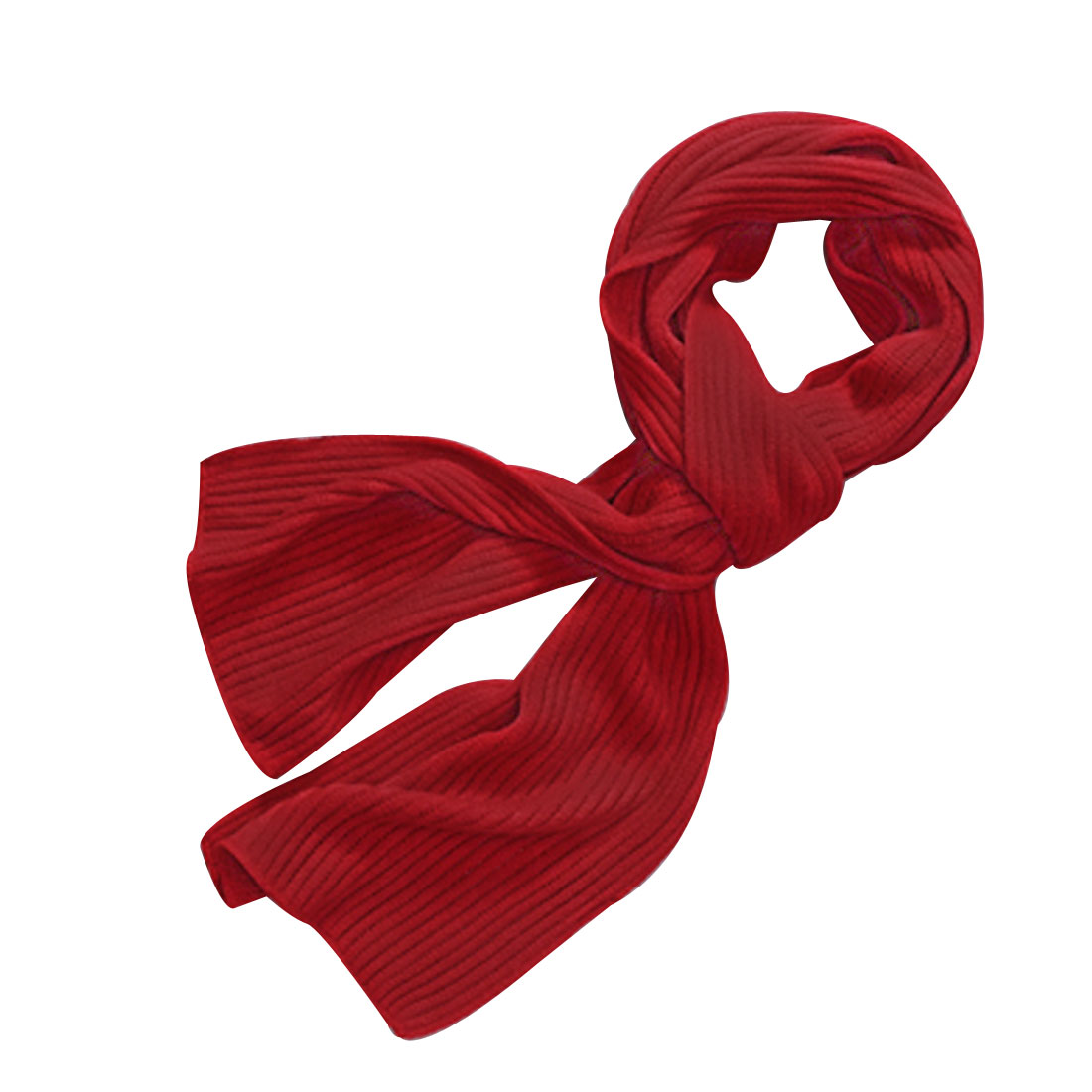 "Men Red Fashion Arcylic 11.8"" Width Crinkled Texture Casual Warm Wrap Scarf"