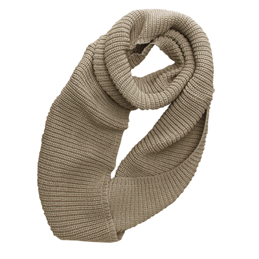 Men Khaki Color NEWS Warm Knitted Textured Winter Neckwear Scarf