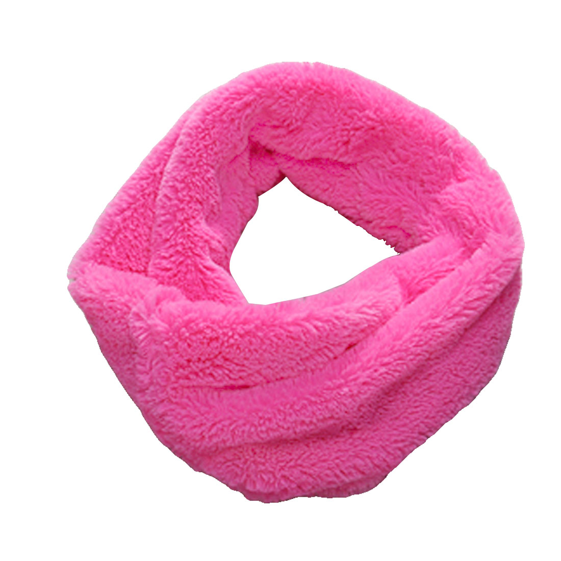 Bright Pink Crew Neck Design Soft Menswear Fuzzy Circle Scarves