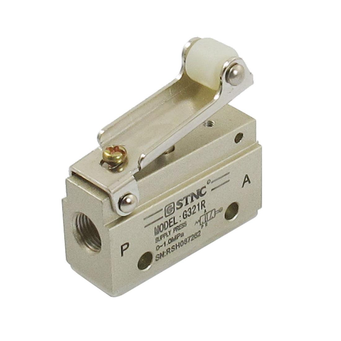 "1/8""PT 2 Position 3 Way Air Flow Control Mechanical Pneumatic Gas Valve w Wheel"