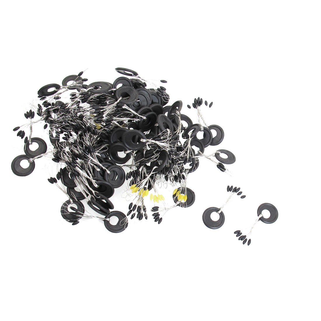 94 Pcs Black Plastic 6 in 1 Oval Shaped Fishing Floaters