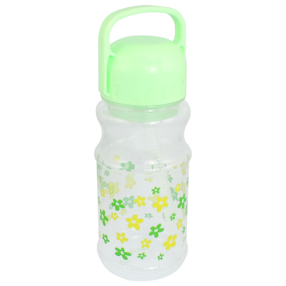 Children 550ml Pale Green Plastic Handheld Water Bottle w Straw Strainer