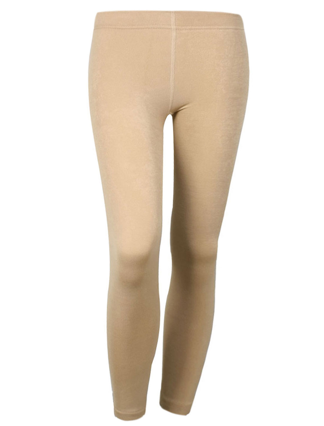 Women Warm Footless Stretch Skinny Pants Leggings Trousers Beige XS
