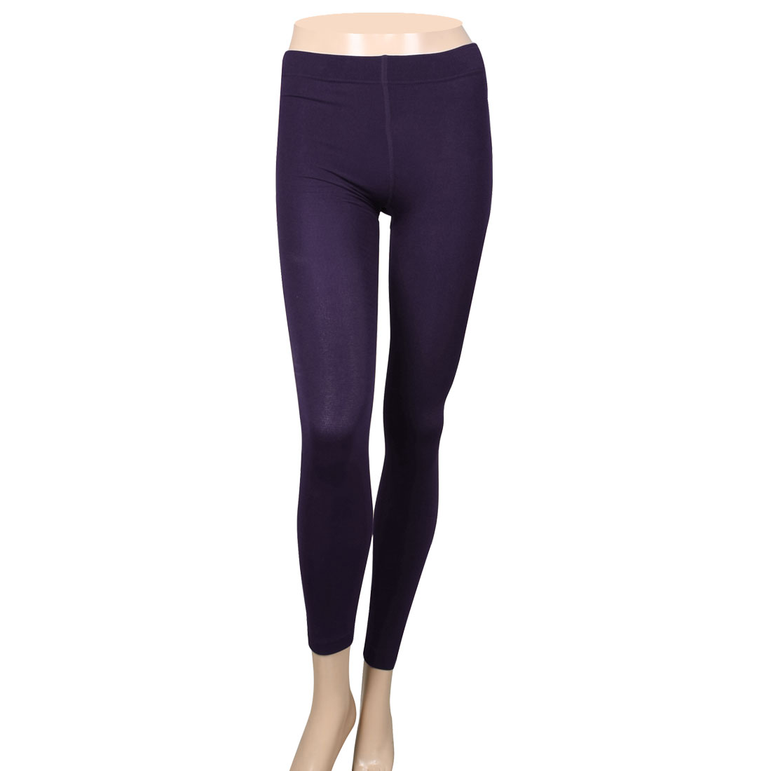 Women Winter Soft Footless Stretch Tights Skinny Pants Leggings Purple XS