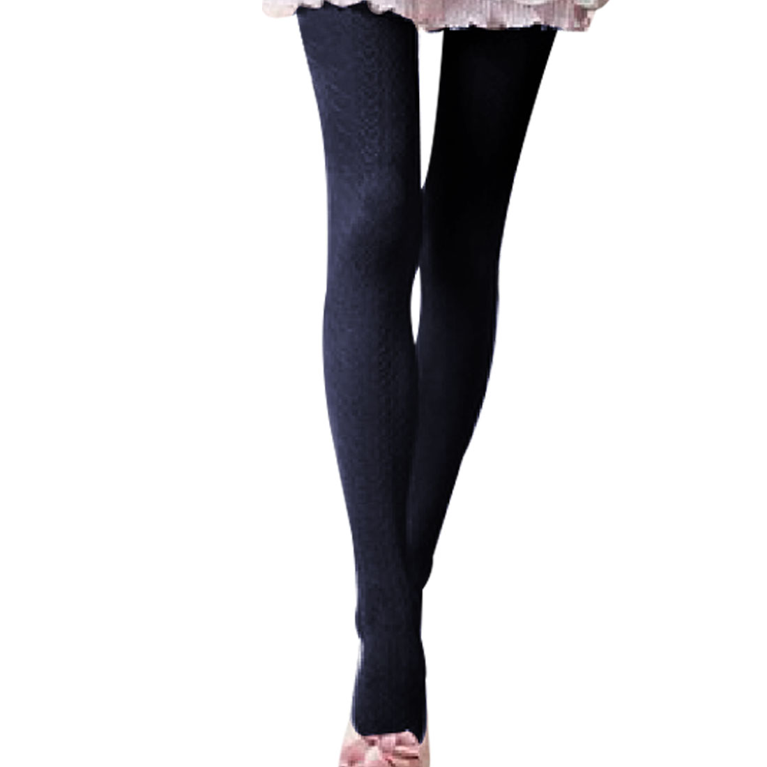 Women Emboosed Heart Pattern Stretch Leggings Footed Pantyhose Dark Blue XS