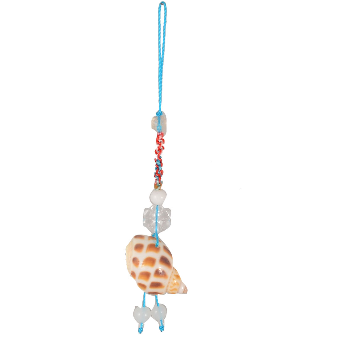 Leopard Print Shell Pendant Beaded Blue String Cell Phone Strap