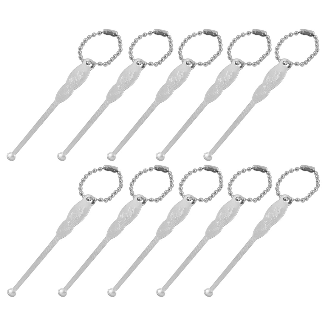 10 Pcs Flower Print Beads Metal Earpicks Removal Cleaner Tool
