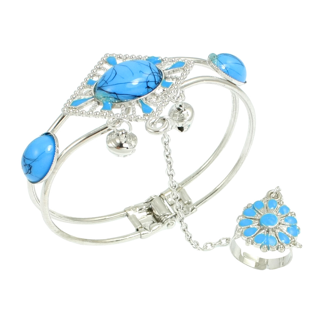 Rhombus Design Light Blue Beads Decor Finger Ring Bracelet