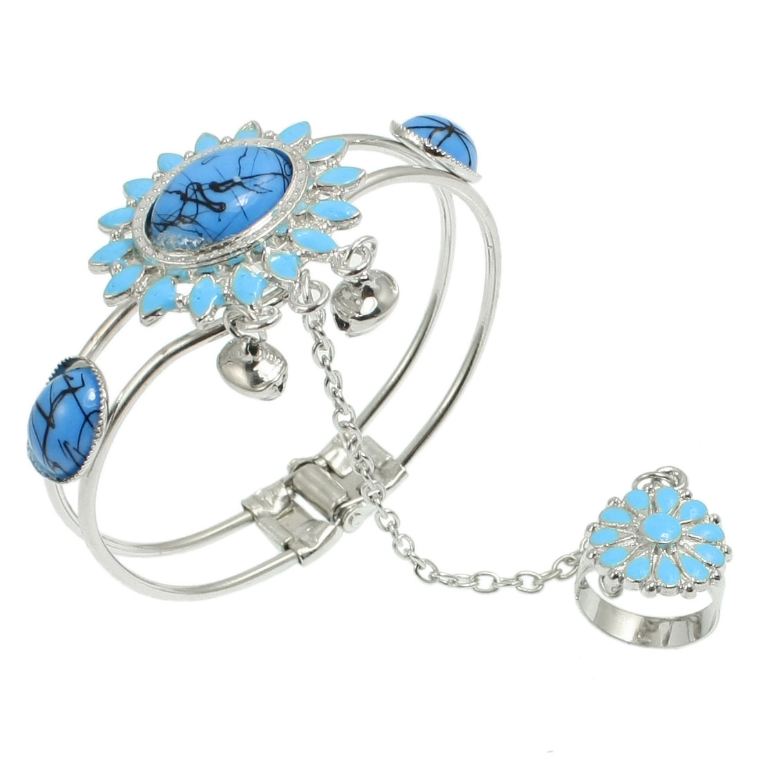 Lady Retro Style Elliptical Flower Bead Detailing Ring Bell Bracelet Bangle