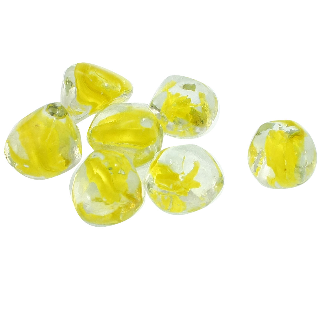 7 x Fish Tank Decoration Clear Yellow Glass Beads Decoration