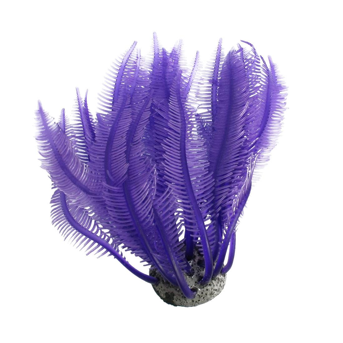 Aquarium Purple Soft Silicone Coral Shaped Ornament with Concrete Base