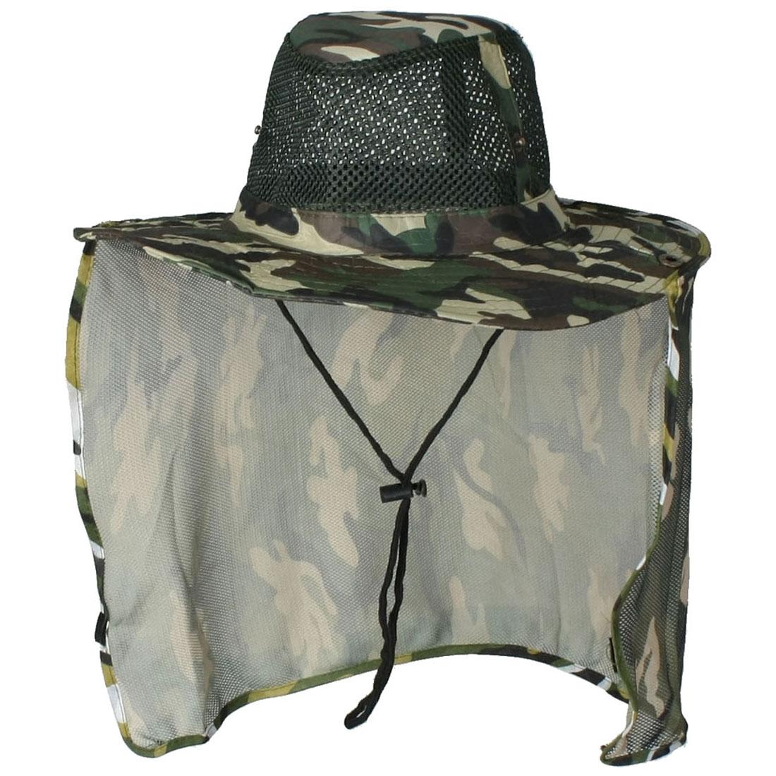 Unisex Adjustable Chin Strap Camouflage Print Flap Bucket Hat