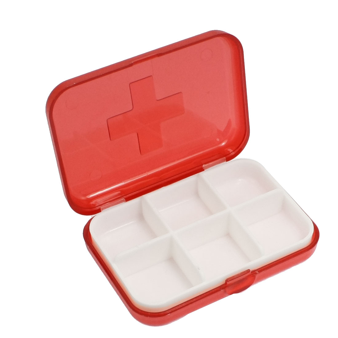 Cross Marked 6 Rooms Medicine Pill Storage Case Box Clear Red