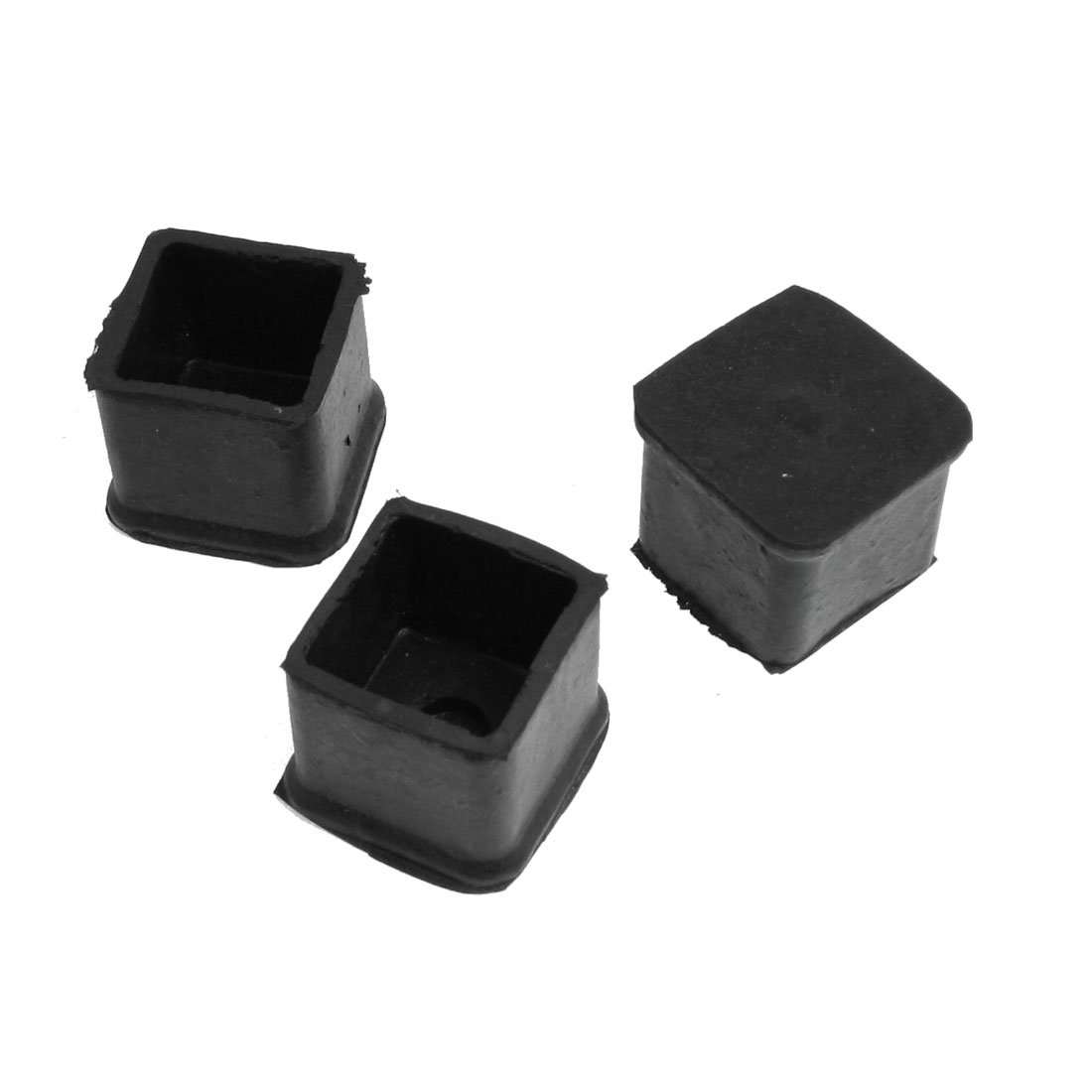 30mm x 30mm Black Square Chair Table Rubber Foot Covers 3 Pcs