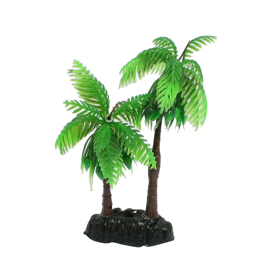 "4.9"" Height Green Artificial Aquarium Decor Coconut Palm Plant"