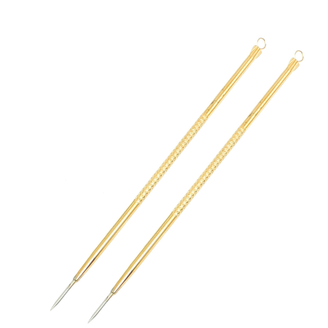 "2 Pcs Facial Blackhead Extractor Acne Remover Needle Gold Tone 4.9"" long"