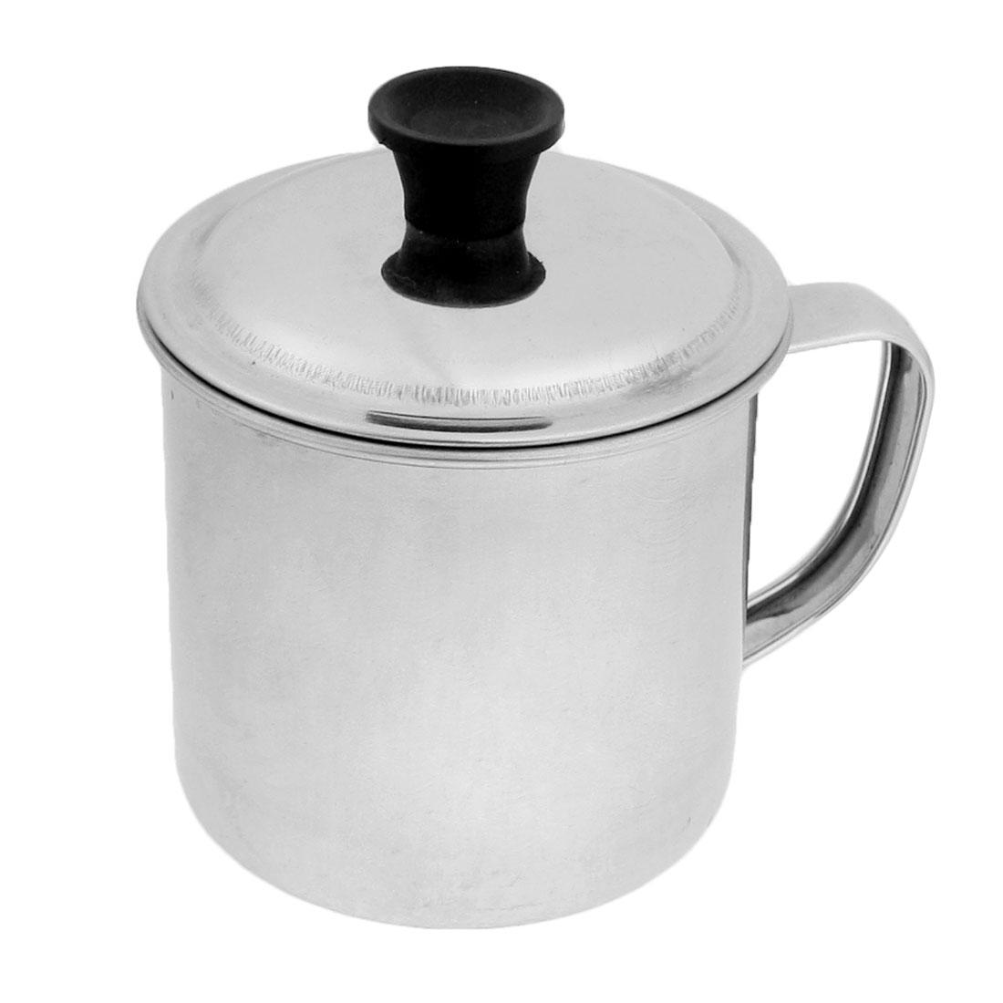 Silver Tone Stainless Steel 7cm Diameter Water Cup Mug w Cap