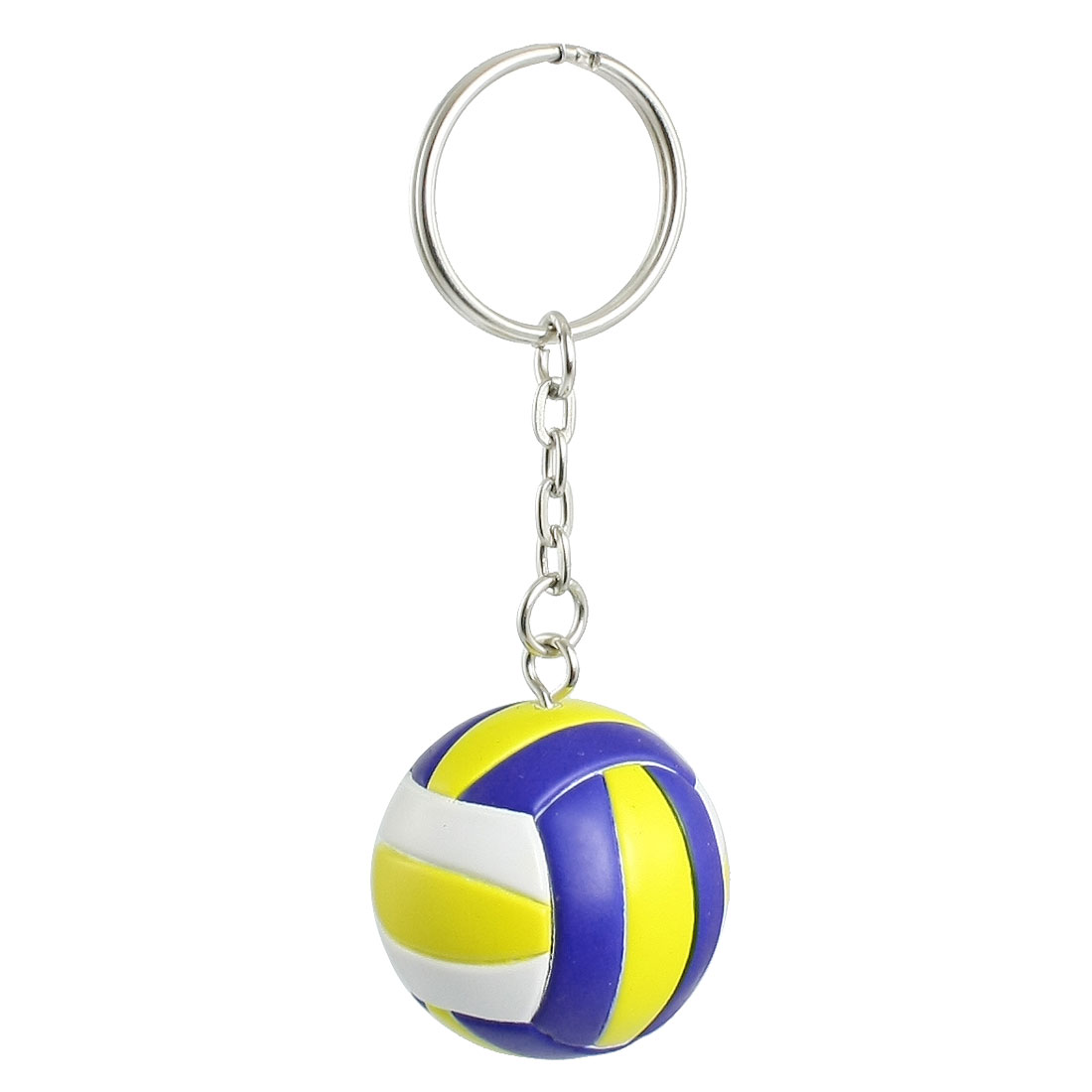 White Yellow Blue Ball Charm Metal Keyring Key Chain Ornament