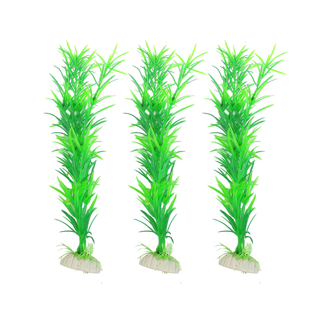 "3 Pcs 11.4"" Height Green Plastic Aquatic Grass Plants for Aquarium Fish Tank"