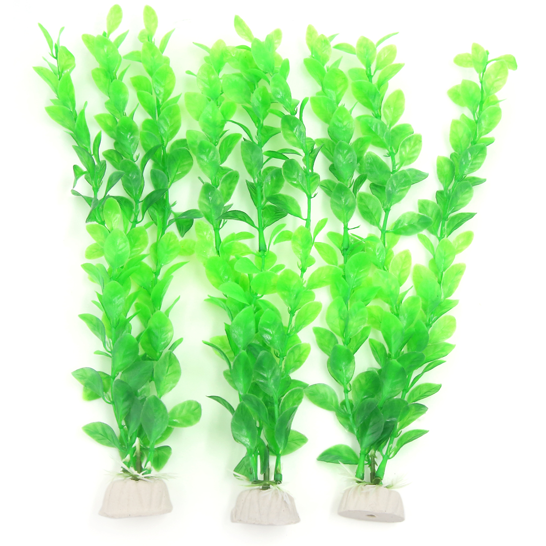 "3 Pcs Aquarium Fish Tank Green Plastic Artificial Plants 10.6"" Height"