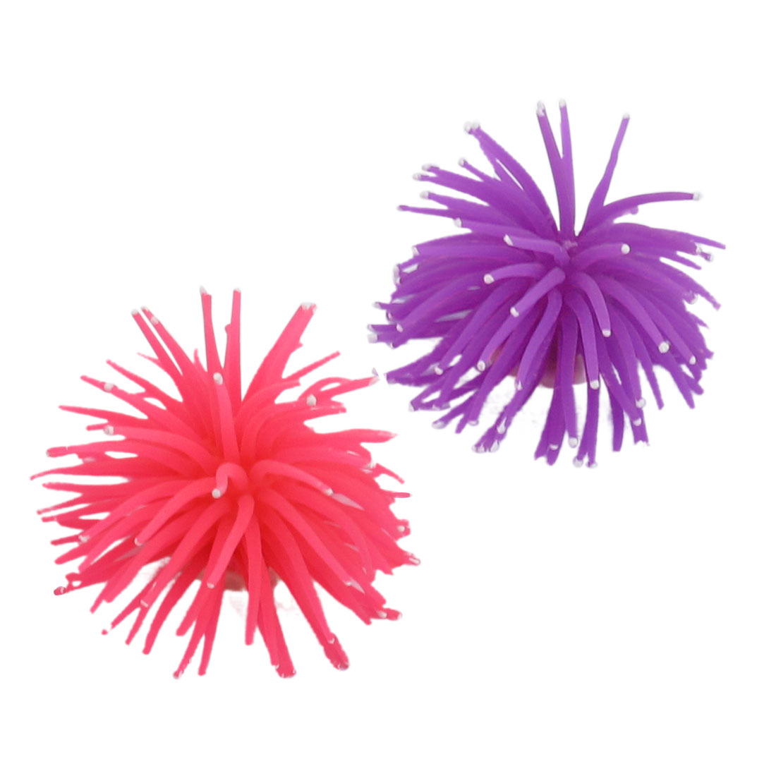 2 Pcs White Dot Purple Fuchsia Soft Silicone Corals Ornament for Fish Tank