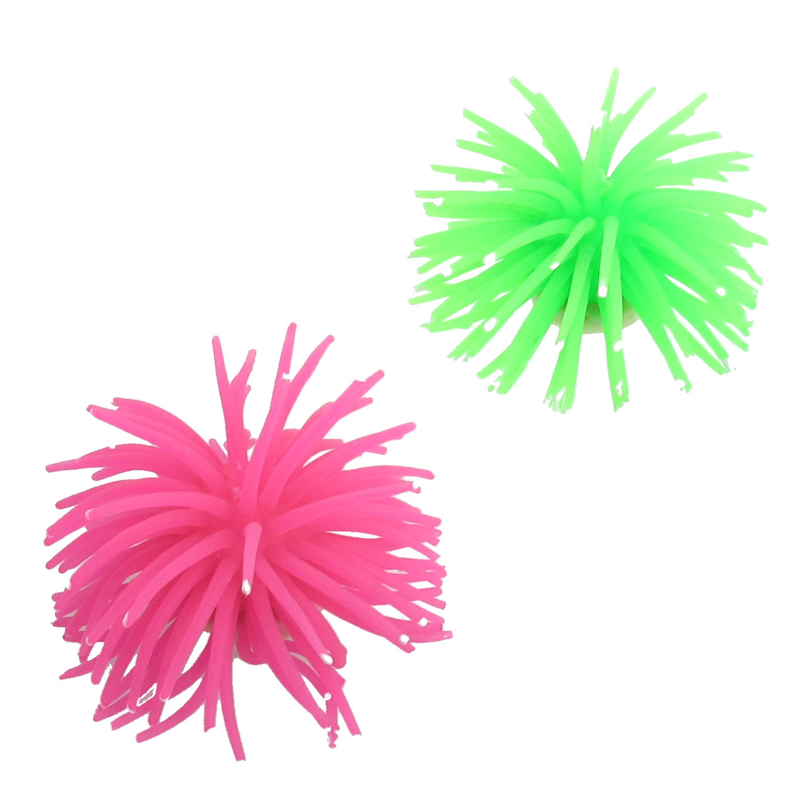 2 Pcs White Dot Green Fuchsia Soft Silicone Corals Ornament for Fish Tank