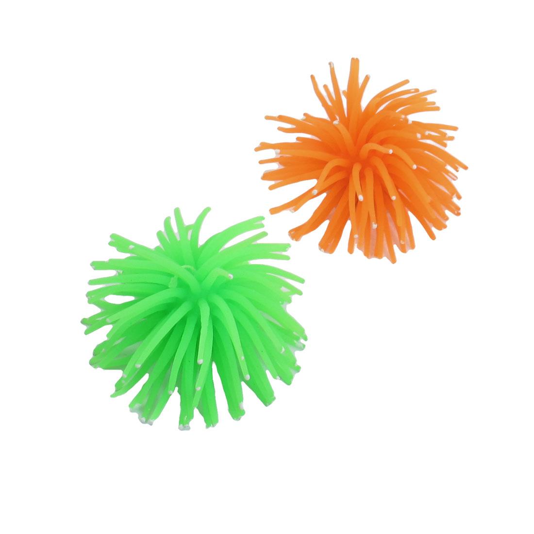 2 Pcs White Dot Orange Green Soft Silicone Corals Ornament for Fish Tank