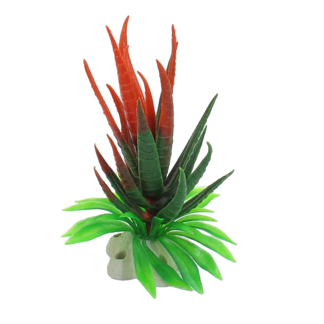 "4.5"" Height Green Red Plastic Simulation Aquatic Plant for Aquarium Fish Tank"
