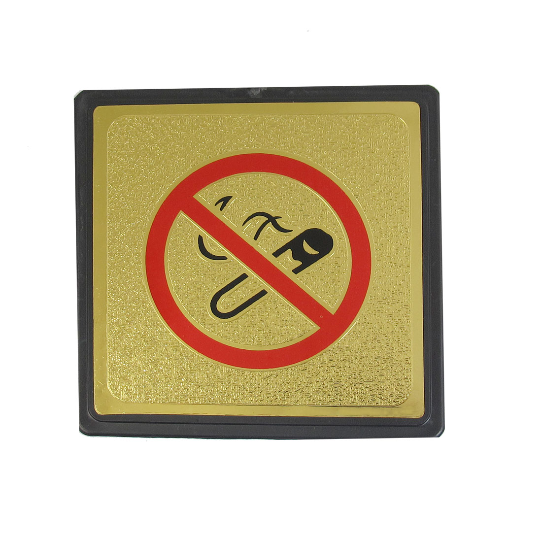 Metal Coated Plastic Square Red No Smoking Sign Board w Adhesive Tape