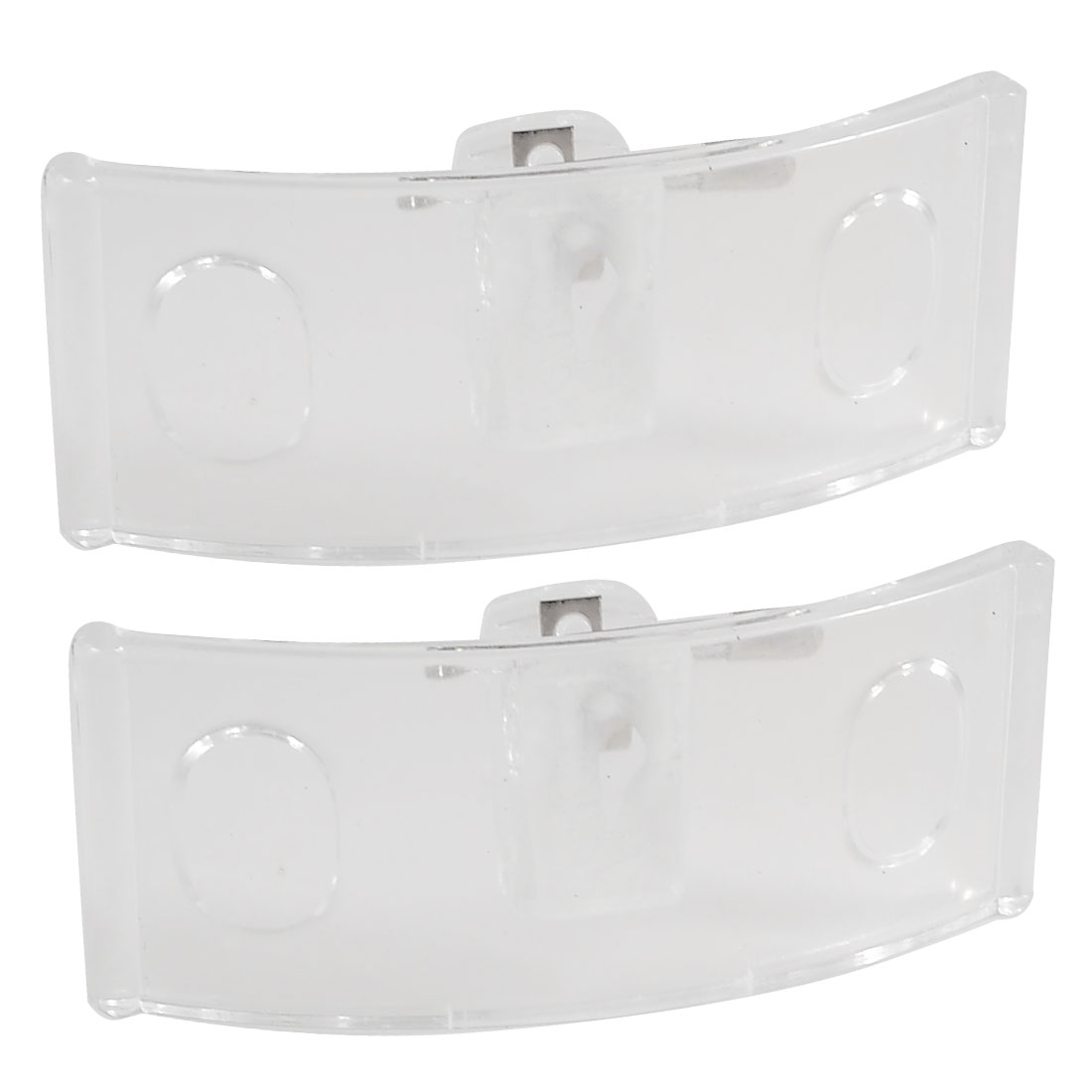 2 Pcs 75mm x 30mm Arch Shaped Clear Hard Plastic Name Tag Holder w Pin