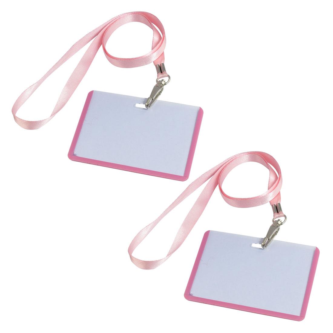2 Pcs School Office Pink Lanyard Horizontal B8 ID Name Badge Card Holders