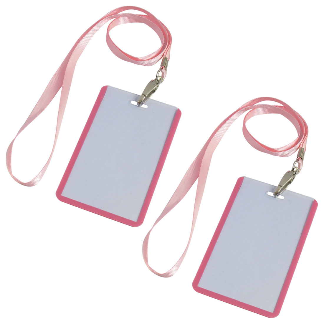 2 Pcs School Office Pink Lanyard Vertical B8 ID Name Badge Card Holders