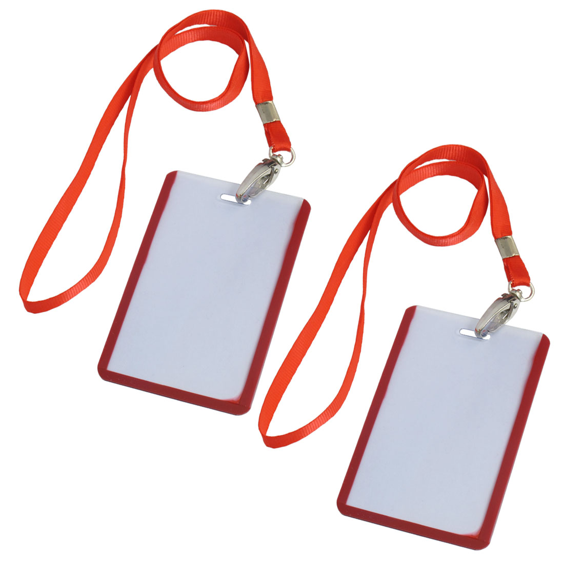 2 Pcs School Office Red Lanyard Vertical B8 ID Name Badge Card Holders