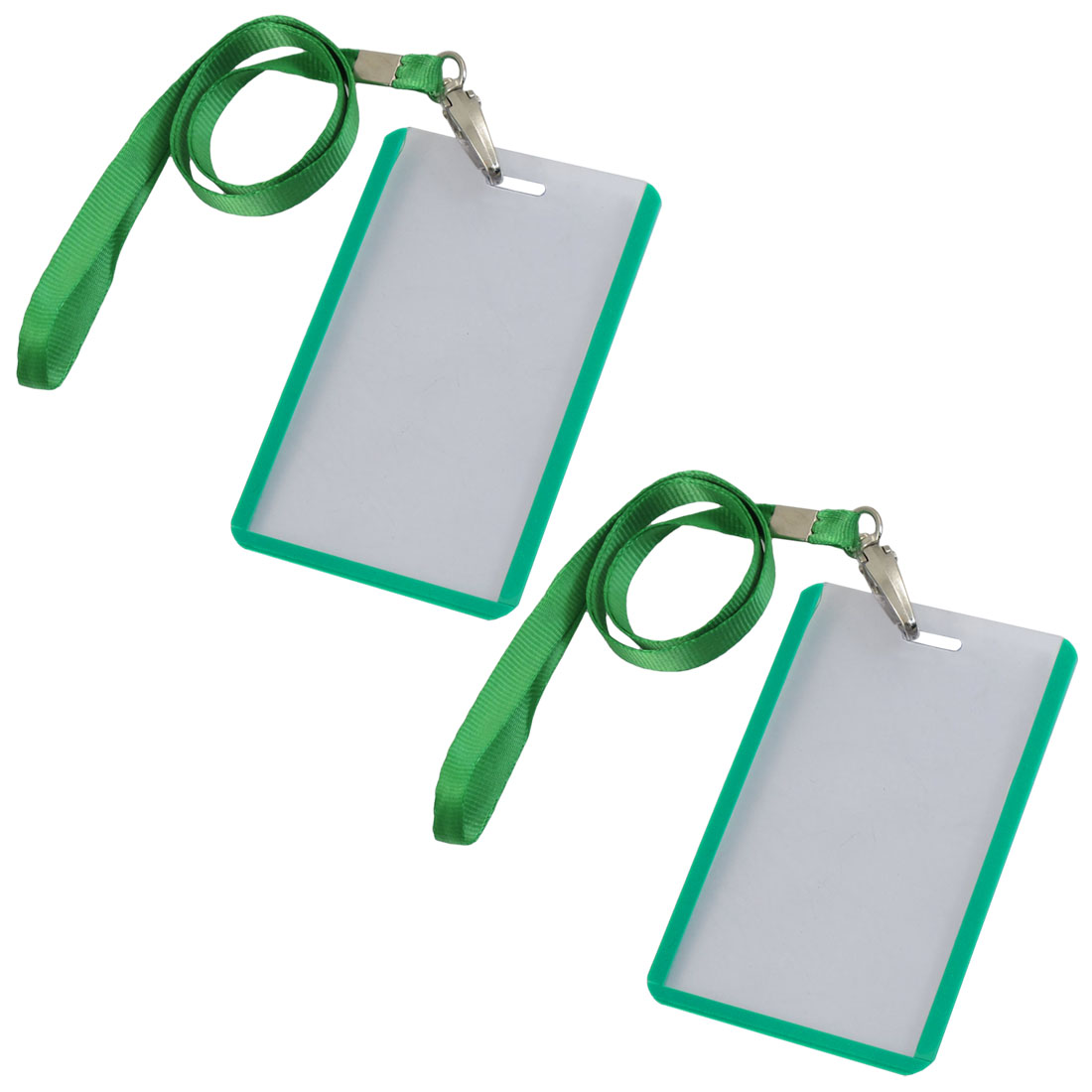 2 Pcs School Office Green Lanyard Vertical B8 ID Name Badge Card Holders