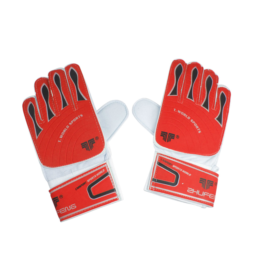 2 Pcs Hook Loop Fastener Latex Palm Nonslip Gloves Red for Goalkeeper