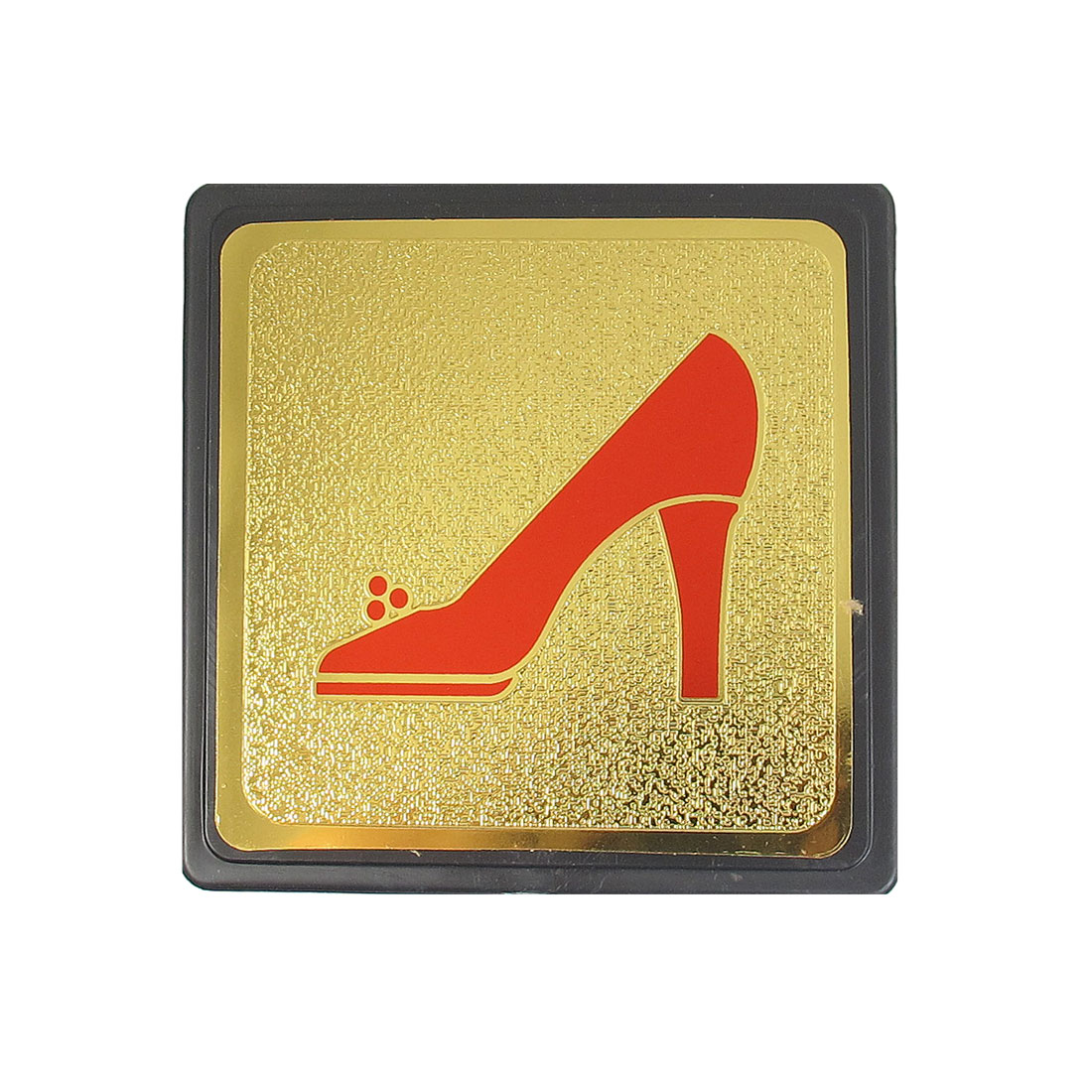 Metal Coated Plastic Square Red High Heel Sign Board w Adhesive Tape