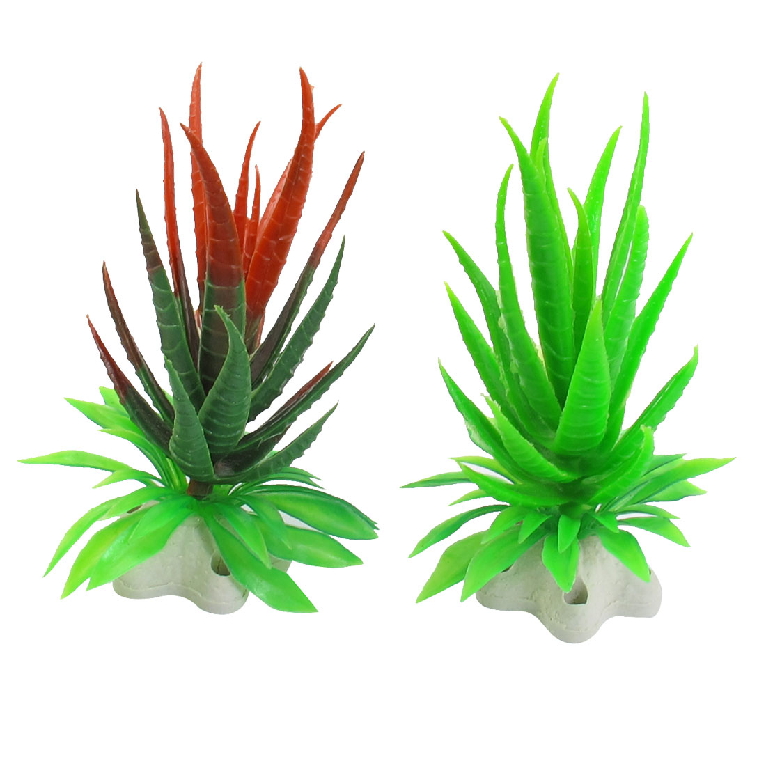 "2 Pcs 4.9"" Hight Assorted Colors Plastic Aquatic Plants for Aquarium Fish Tank"