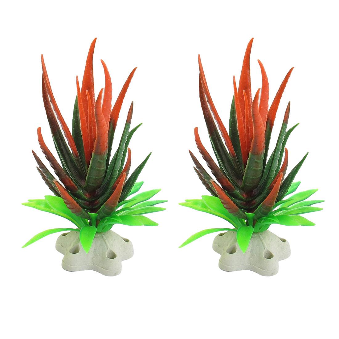"""2 Pcs 4.7"""" Hight Green Red Plastic Aquatic Plants for Aquarium Fish Tank"""